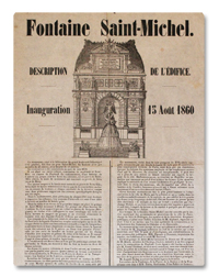 fontaine, saint-michel, inauguration, 1860, paris, napoleon III, placard, document original