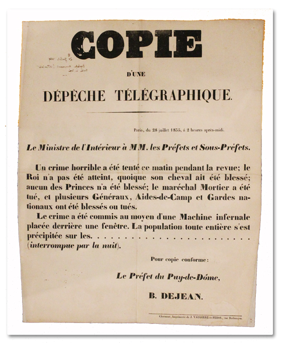 placard, document original, paris, histoire, louis philippe, attentat, 1835, giuseppe fieschi, machine infernale, crime horrible