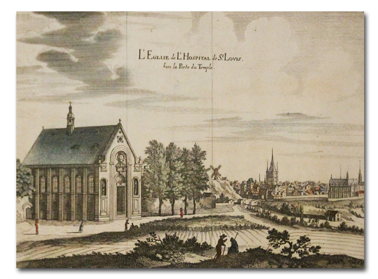 paris, gravure, merian, eglise, hopital saint louis, chapelle, henri iv, porte du temple, peste, estampe