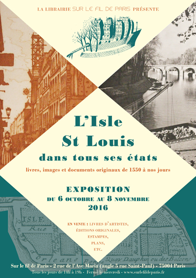 exposition, affiche, ile saint louis, isle saint louis, documents, photos, plans, originaux, livres, librairie, fil de paris