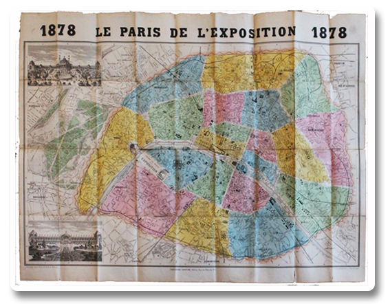 paris, exposition universelle, 1878, plan, paris de l'exposition, sonnet, depliant, couleurs, original