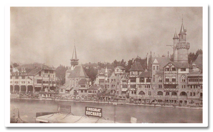 paris, exposition universelle, 1900, photo, robida, vieux paris, attraction, village medieval, seine, tirage