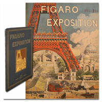 figaro, exposition universelle, 1889, cartonnage, relie, tour eiffel, illustrations, couleurs, grasset