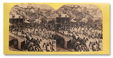 photo, stereo, albumine, 1860, paris, commune, montmartre, fete, original, foule