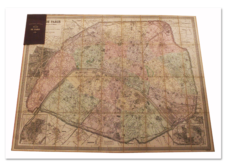 plan, paris, original, map, andriveau-goujon, 1883, entoile, couleurs, carnet
